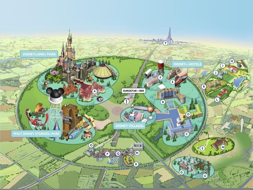 מפת דיסנילנד פריז - Disneyland Paris Map